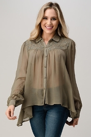 Kaii Mesh Blouse Shirt Top With Beaded Jewel Trim - Product Mini Image