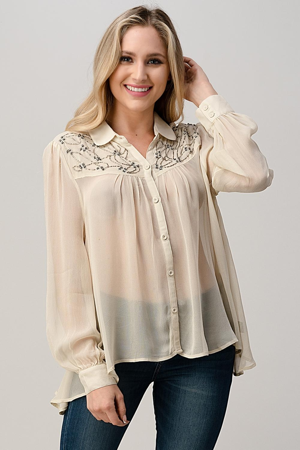Kaii Mesh Blouse Shirt Top With Beaded Jewel Trim - Front Cropped Image