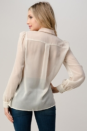 Kaii Mesh Blouse Shirt Top With Beaded Jewel Trim - Side cropped