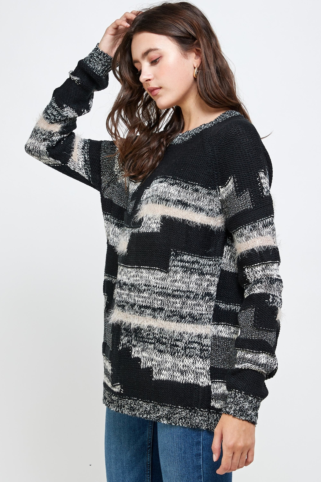 Kaii Multi Yarn Sweater Top - Front Full Image