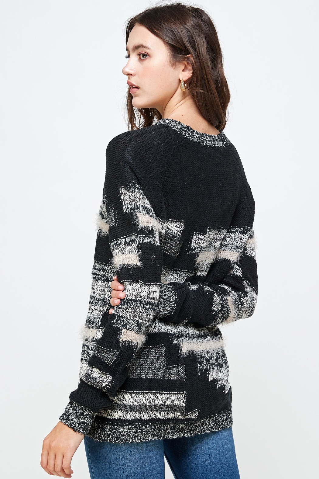 Kaii Multi Yarn Sweater Top - Back Cropped Image