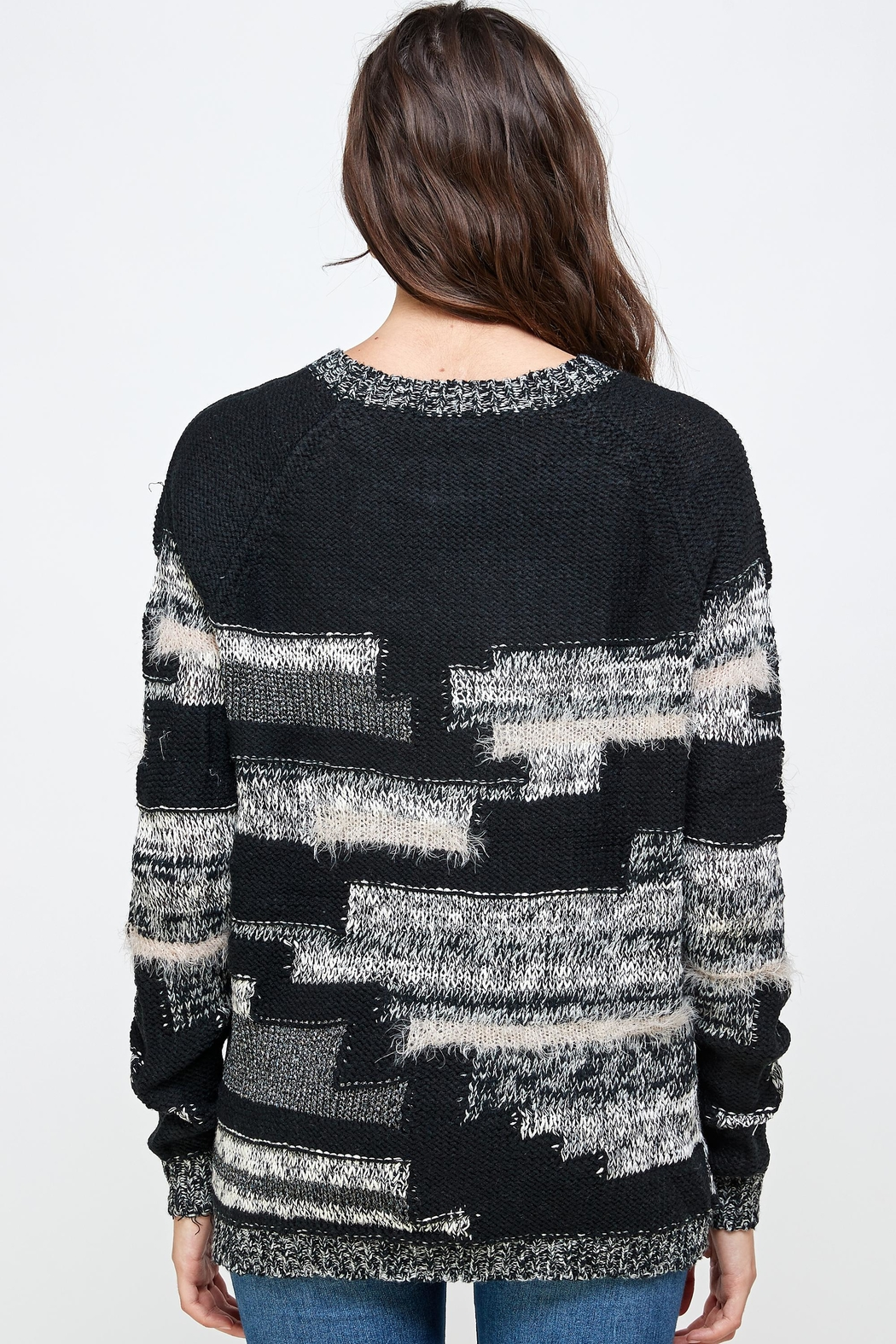 Kaii Multi Yarn Sweater Top - Side Cropped Image
