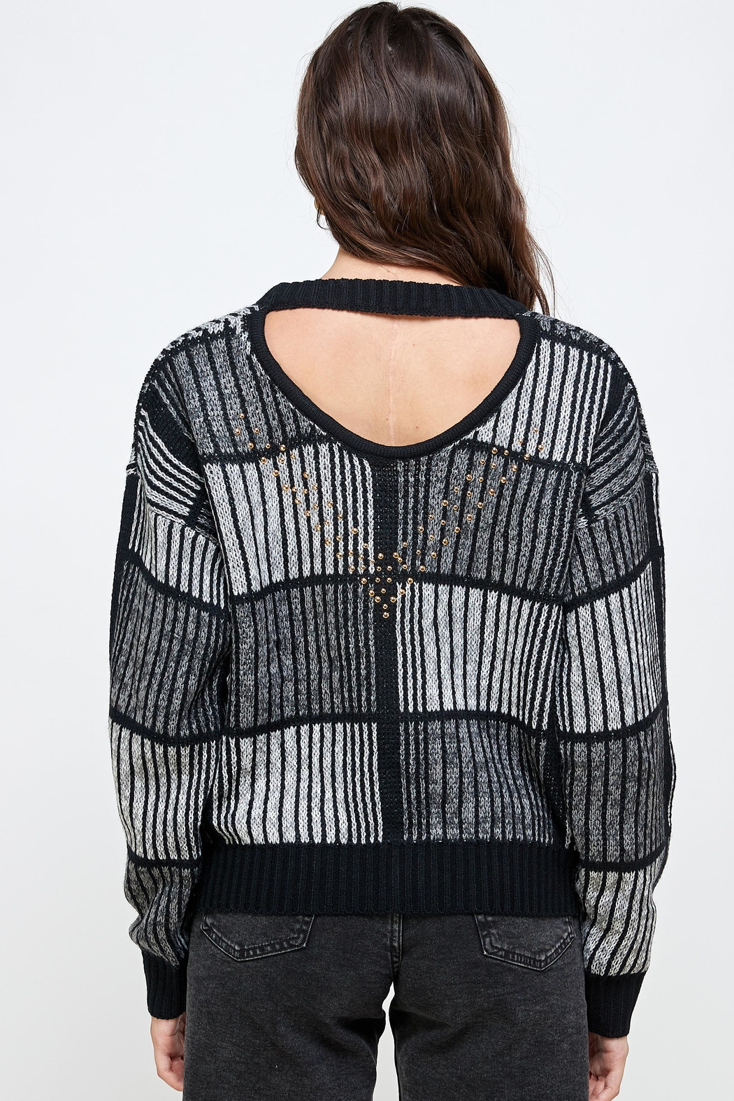 Kaii Open Back Studded Sweater Top - Back Cropped Image