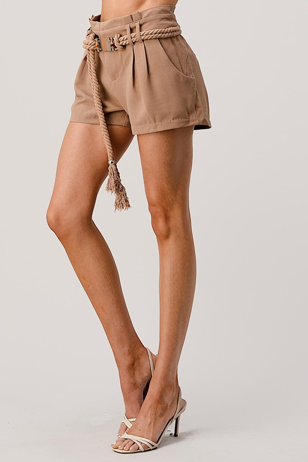 Kaii Paper Bag Waist With Rope Belted Shorts - Back Cropped Image