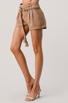 Kaii Paper Bag Waist With Rope Belted Shorts - Alternate List Image