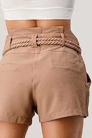 Kaii Paper Bag Waist With Rope Belted Shorts - Other