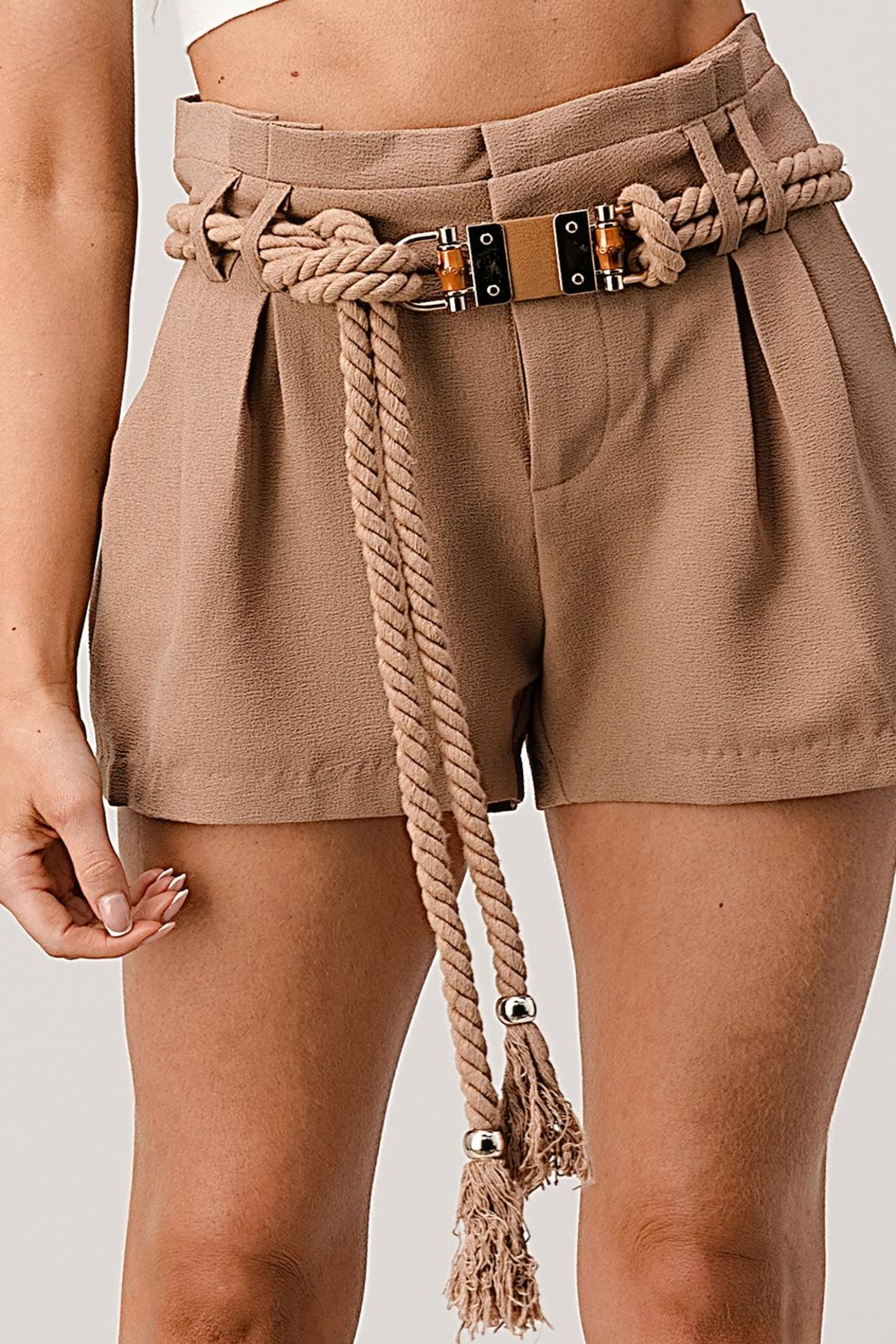 Kaii Paper Bag Waist With Rope Belted Shorts - Side Cropped Image
