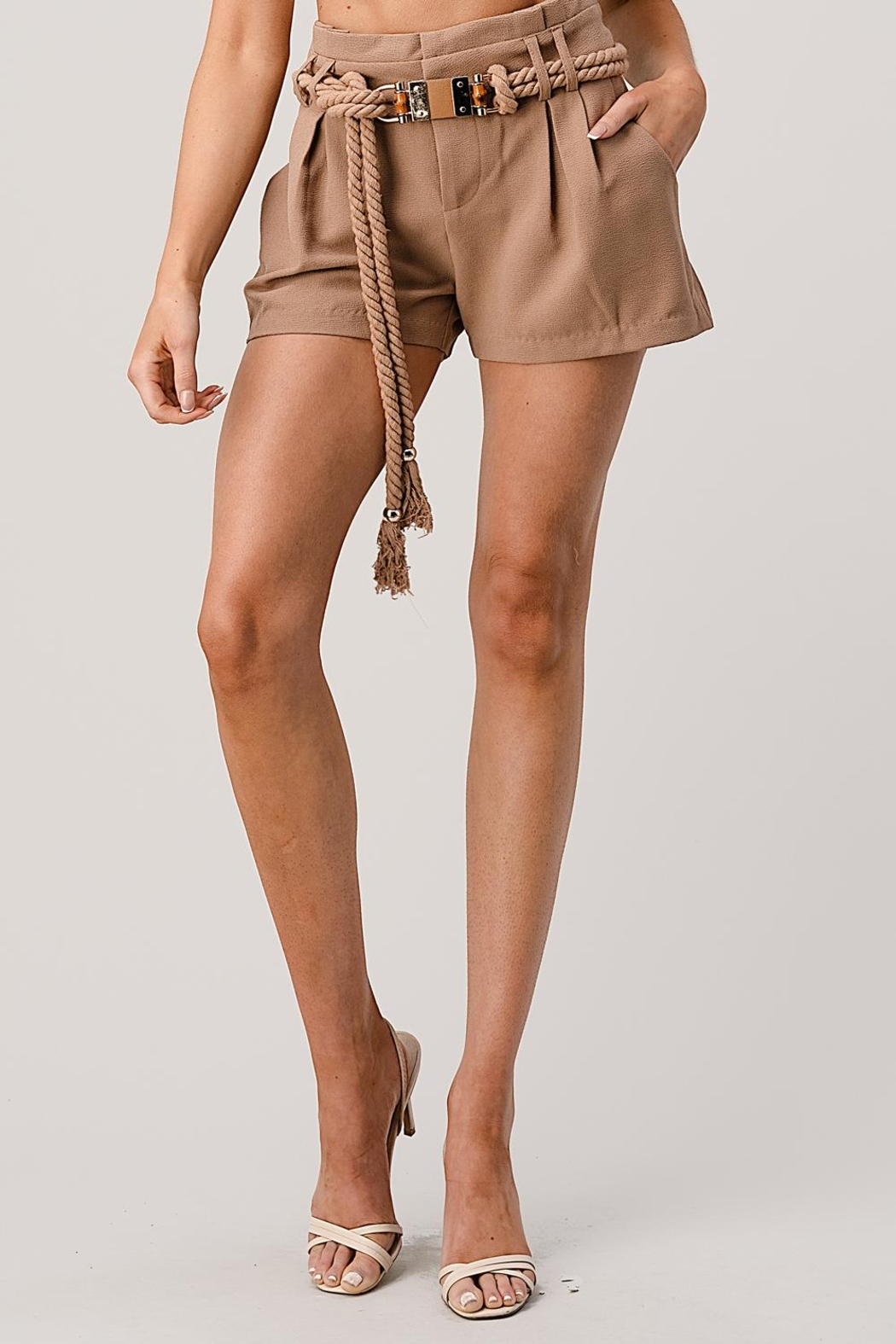 Kaii Paper Bag Waist With Rope Belted Shorts - Main Image