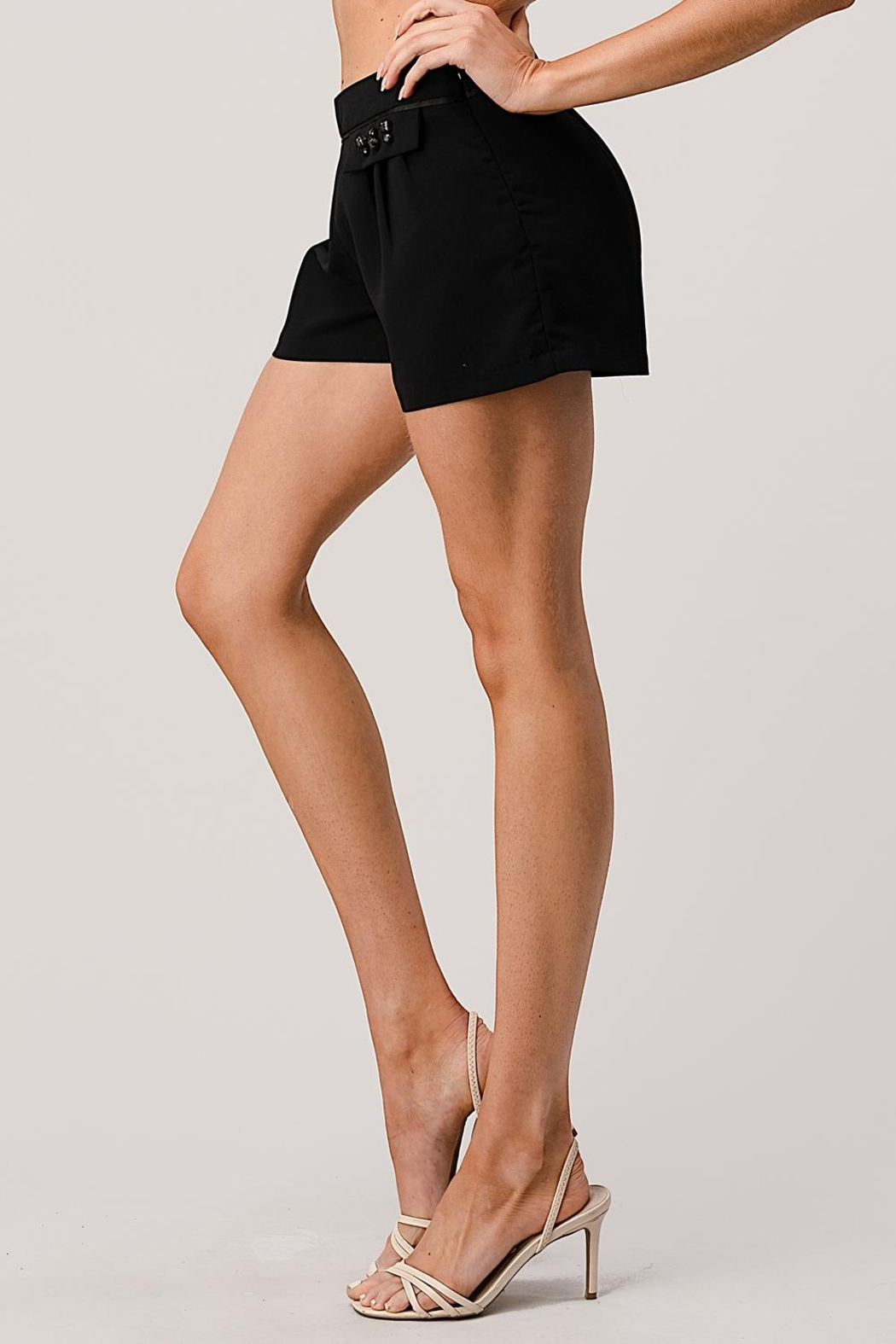 Kaii Paper Bag Waist With Rope Belted Shorts - Front Full Image