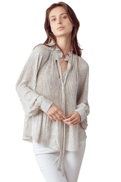 Kaii Pin Dot Pleated Tie Neck Long Sleeve Blouse Top - Product List Image