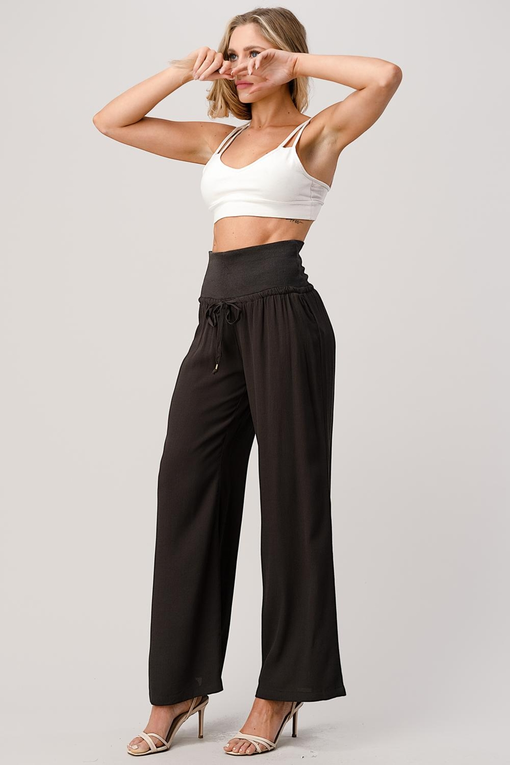Kaii Rib-Banded Palazzo Pants In Crepe Georgette - Back Cropped Image