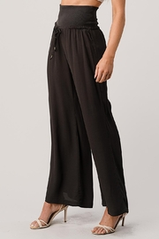 Kaii Rib-Banded Palazzo Pants In Crepe Georgette - Front full body
