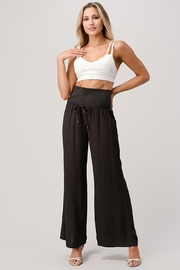 Kaii Rib-Banded Palazzo Pants In Crepe Georgette - Front cropped