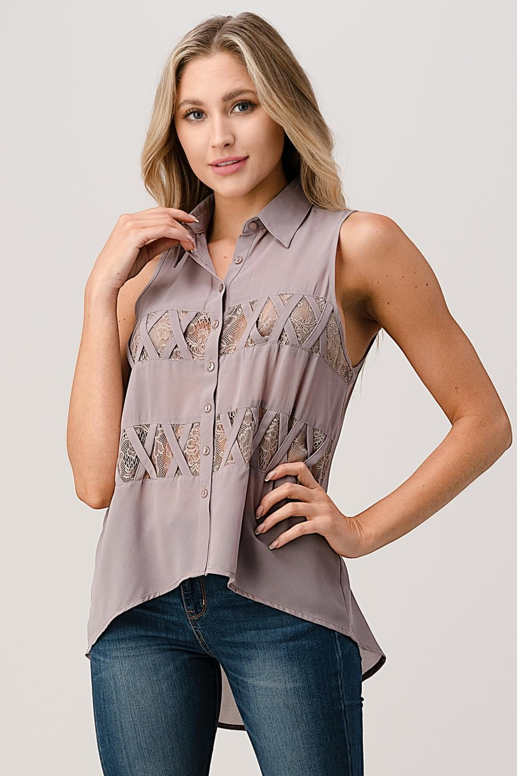 Kaii Sleeveless High Low Hemmed With Lace Shirt - Main Image