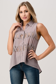 Kaii Sleeveless High Low Hemmed With Lace Shirt - Product List Image