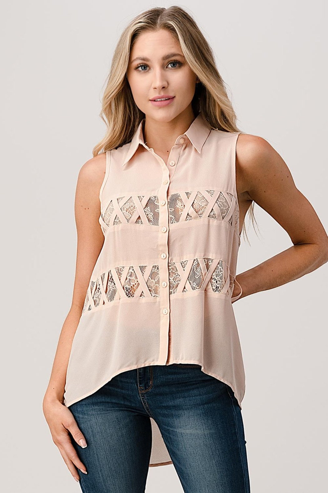 Kaii Sleeveless High Low Hemmed With Lace Shirt - Front Cropped Image