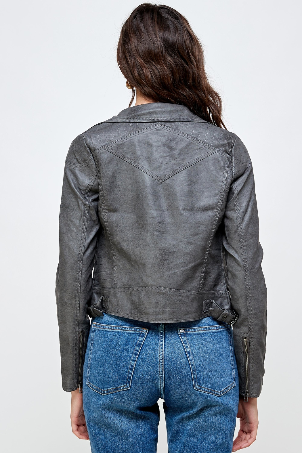 Kaii Stitch Vegan Leather Biker Jacket Top - Back Cropped Image