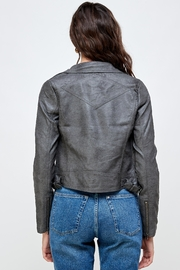 Kaii Stitch Vegan Leather Biker Jacket Top - Back cropped