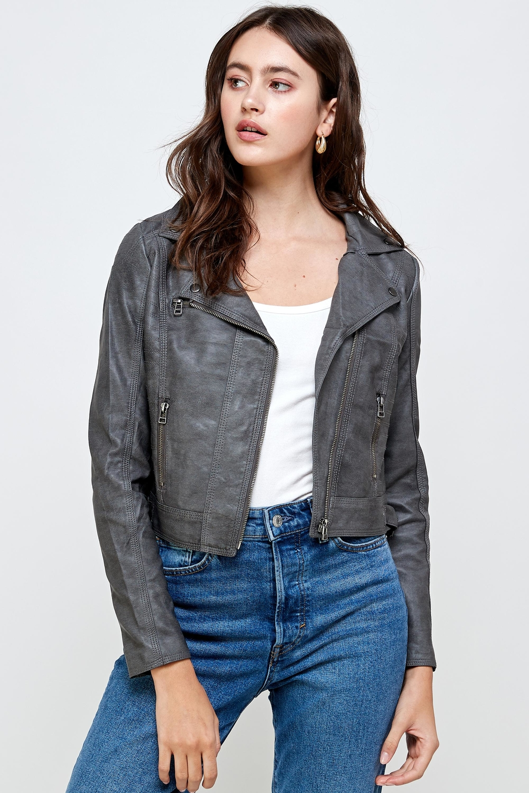 Kaii Stitch Vegan Leather Biker Jacket Top - Front Cropped Image