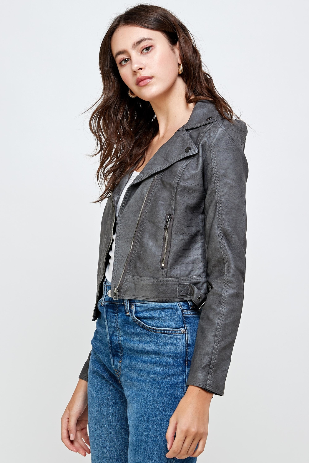 Kaii Stitch Vegan Leather Biker Jacket Top - Front Full Image