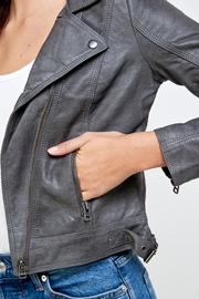 Kaii Stitch Vegan Leather Biker Jacket Top - Side cropped