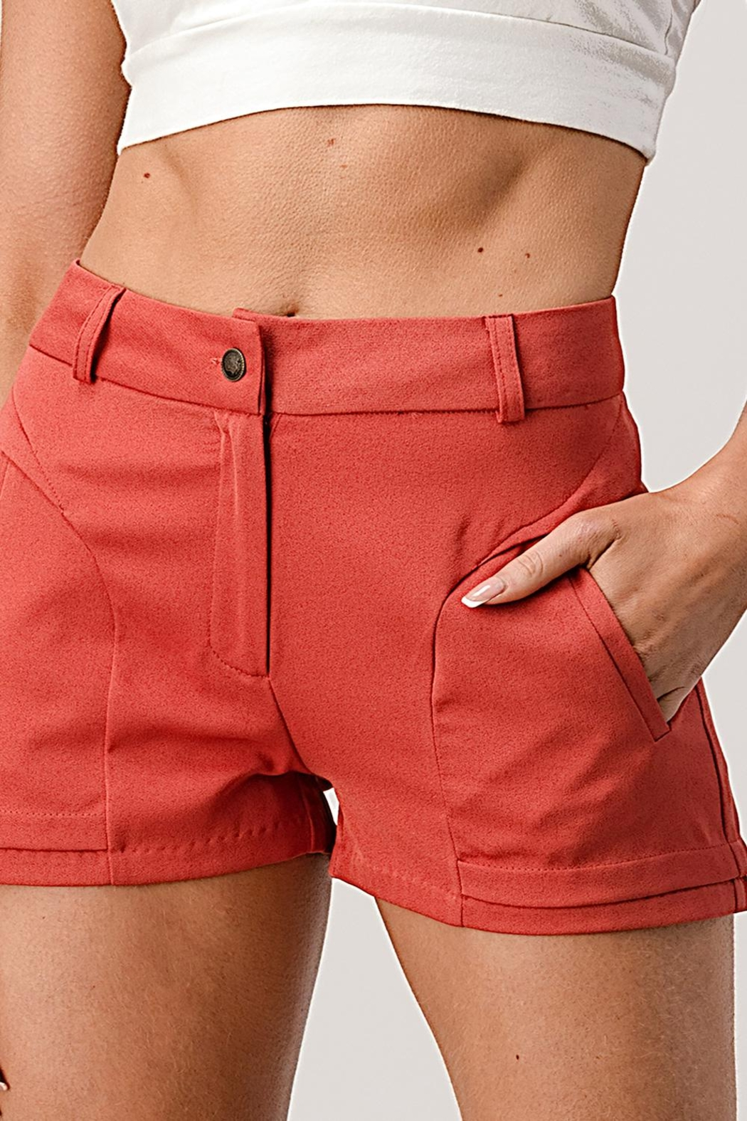 Kaii Two Pockets Dress Shorts In Gabardine - Front Cropped Image