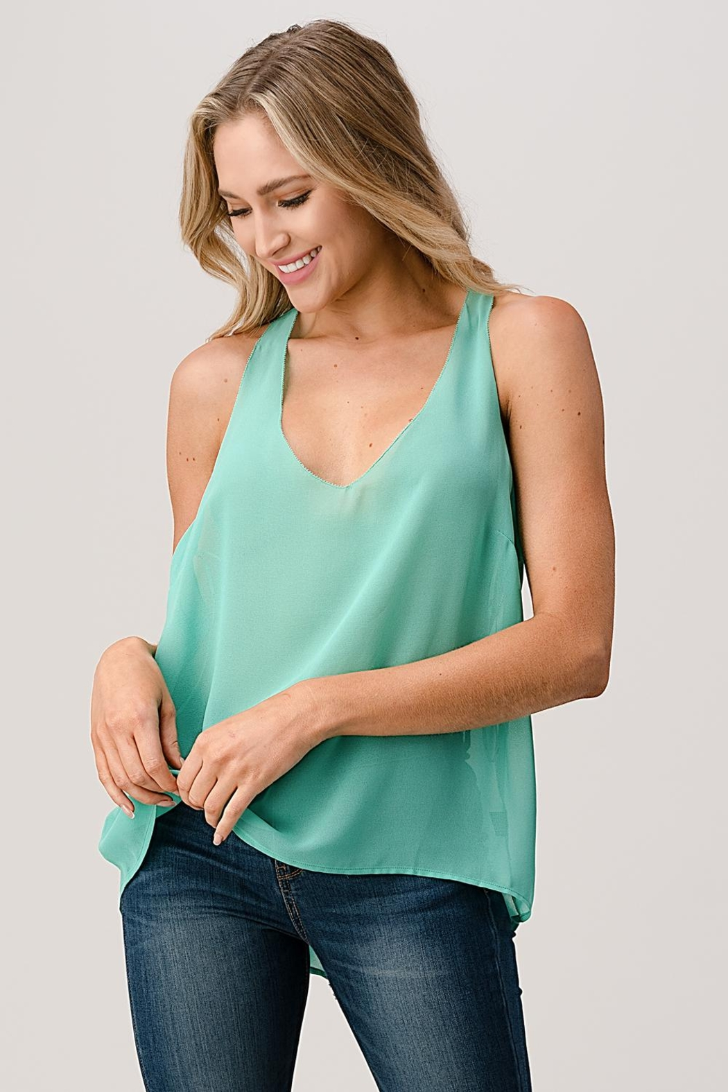 Kaii V Neck Hi Low Cami Top With Chiffon - Front Cropped Image