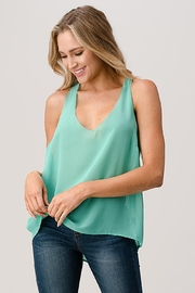 Kaii V Neck Hi Low Cami Top With Chiffon - Front cropped