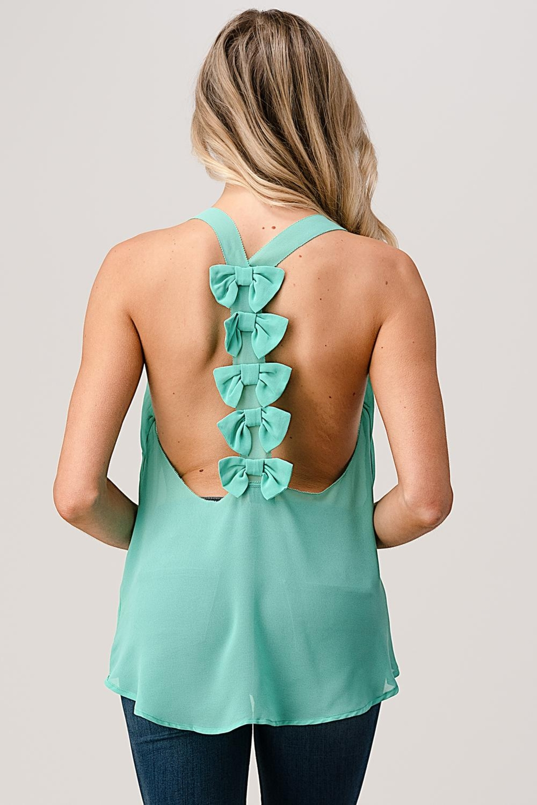 Kaii V Neck Hi Low Cami Top With Chiffon - Side Cropped Image