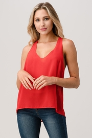 Kaii V Neck Hi Low Cami Top With Chiffon - Front full body