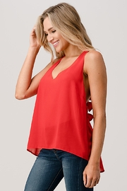 Kaii V Neck Hi Low Cami Top With Chiffon - Back cropped