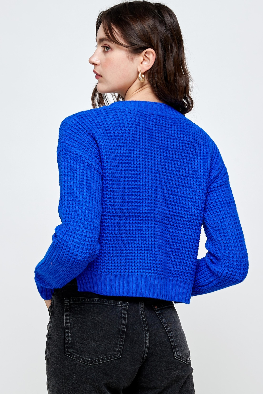 Kaii Waffle Knitted Cropped Sweater Top - Back Cropped Image