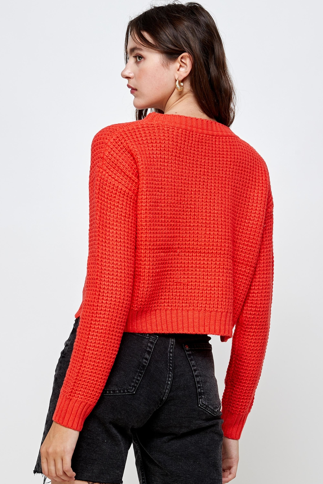 Kaii Waffle Knitted Cropped Sweater Top - Side Cropped Image