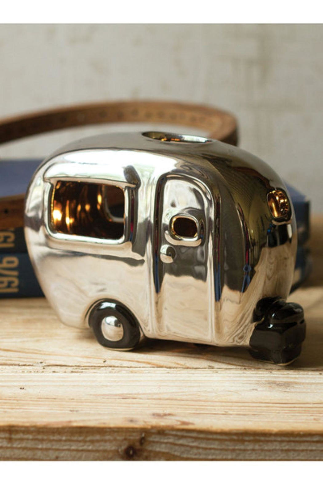 Kalalou Silver Ceramic Camper Lamp - Front Cropped Image