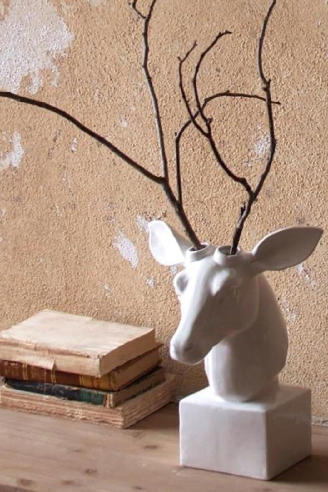 Kalalou Table Top Ceramic Deer Head - Front Cropped Image