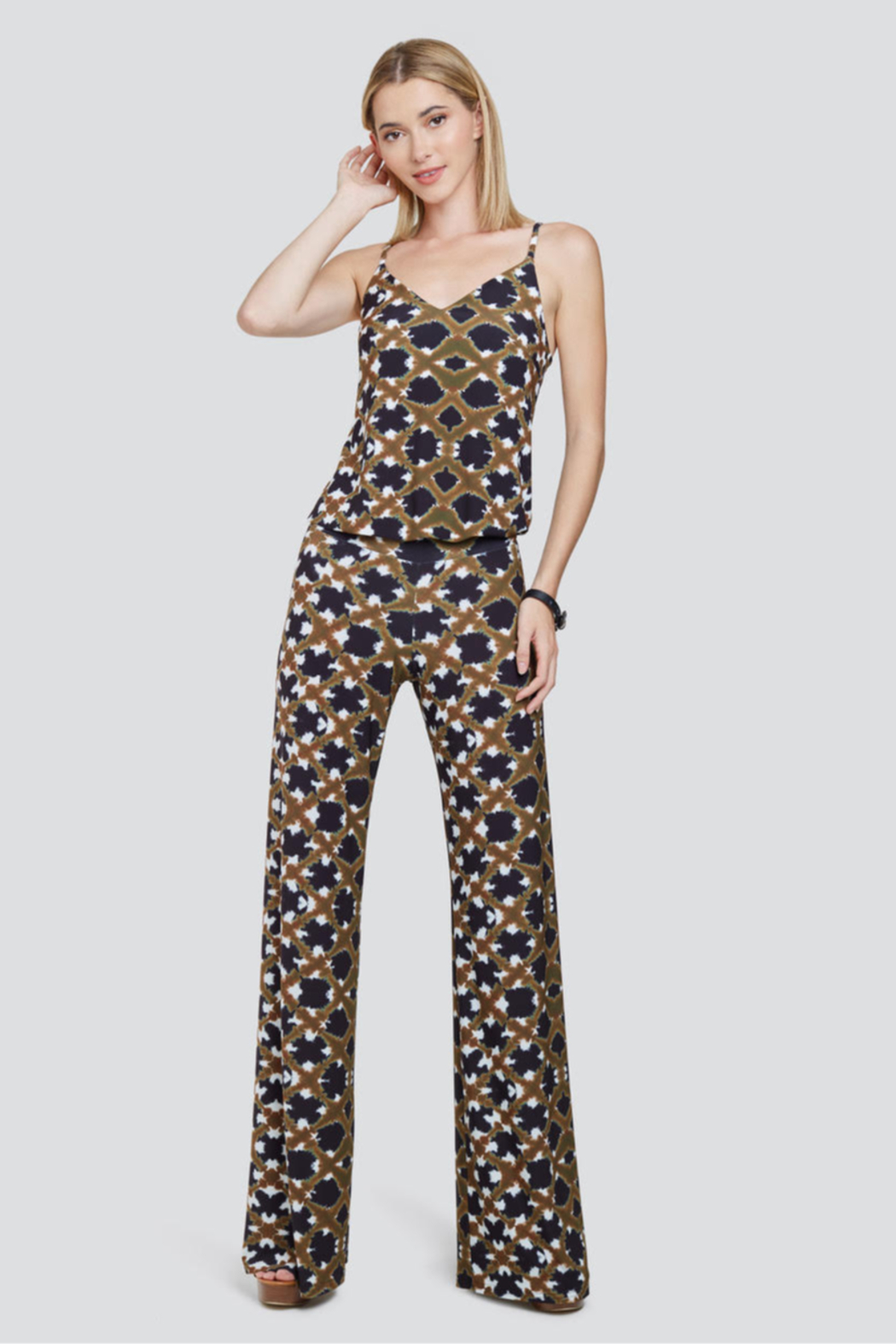Viereck Kaleidoscope Print V Neck Jumpsuit - Front Cropped Image