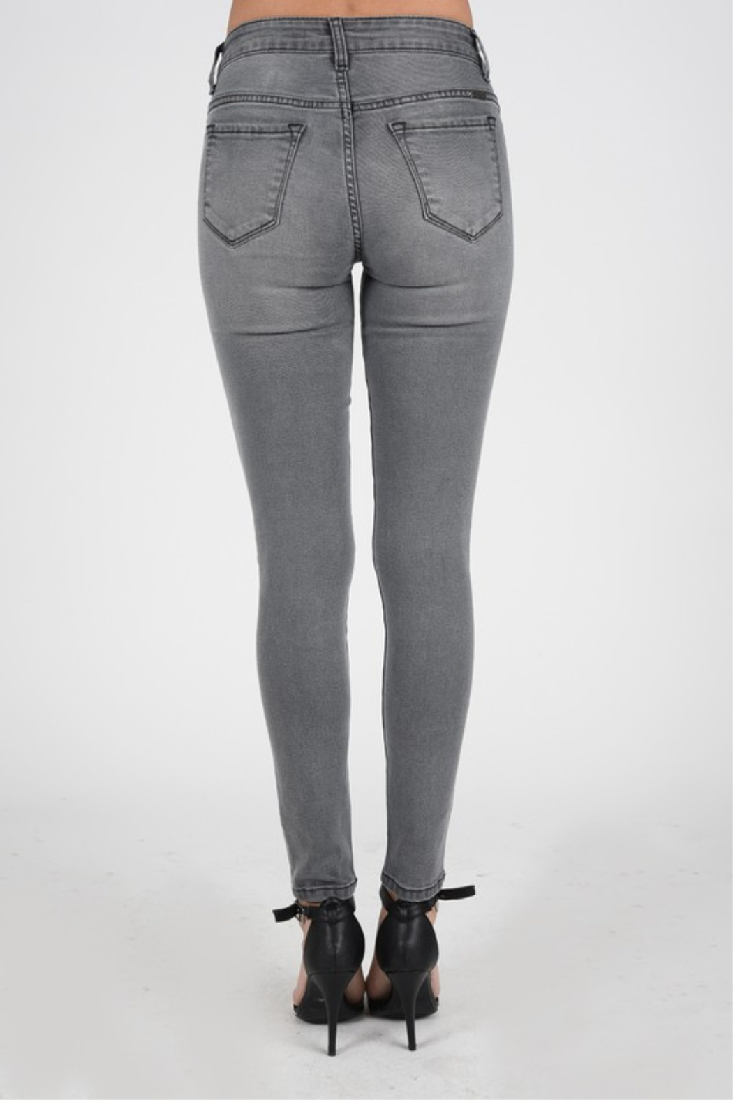 Kan Can Grey Skinny - Back Cropped Image