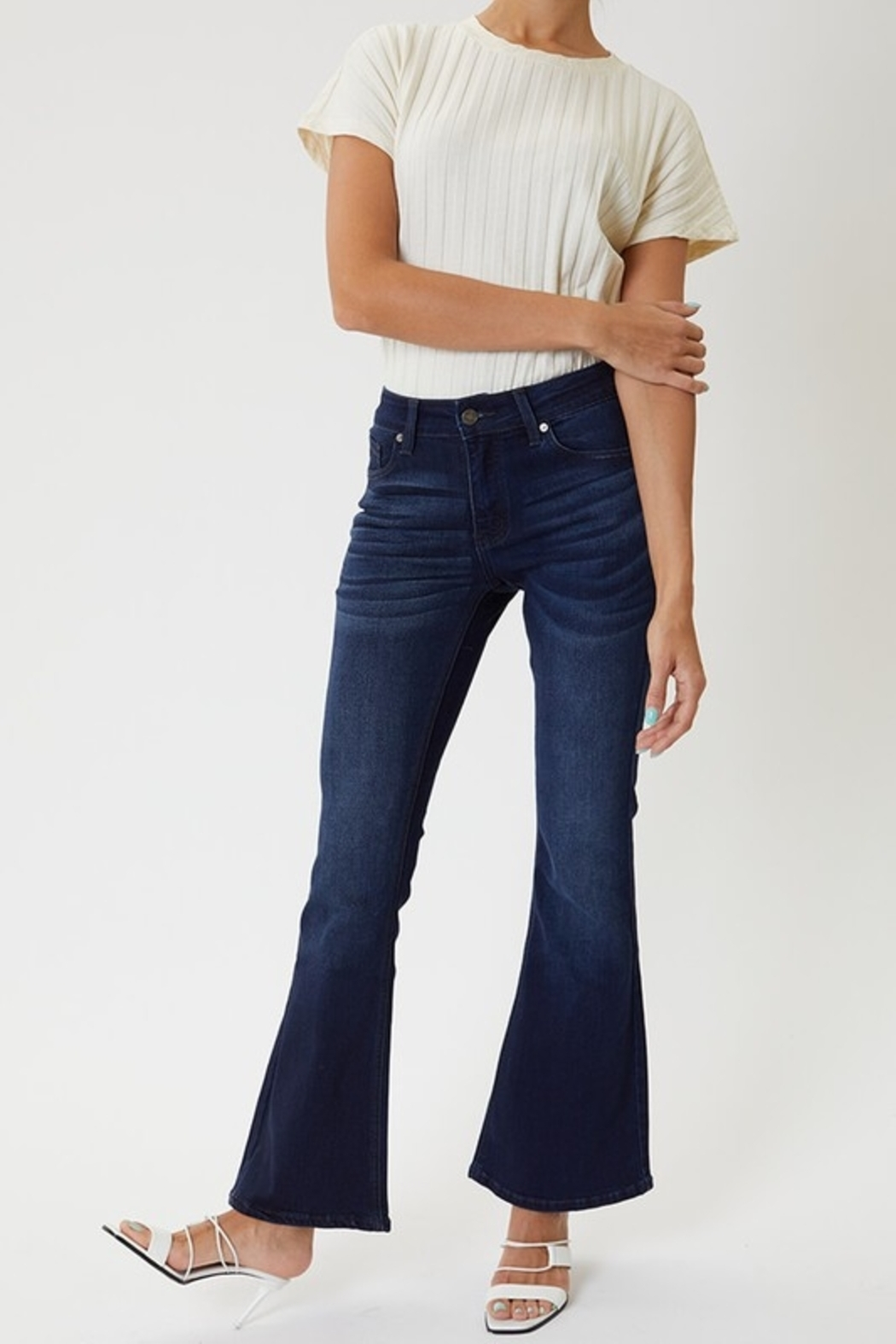 KanCan Kan Can Mid Rise Petite Flare - Front Cropped Image