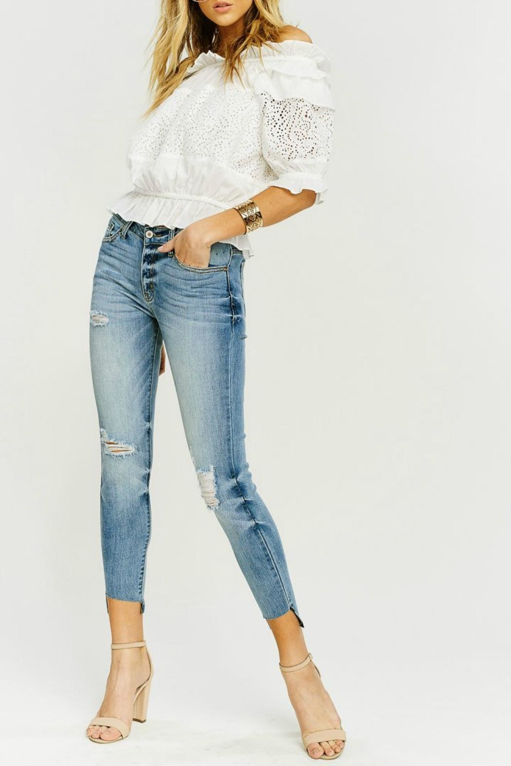 Kan Can Asymmetric Light-Wash Skinny - Front Full Image