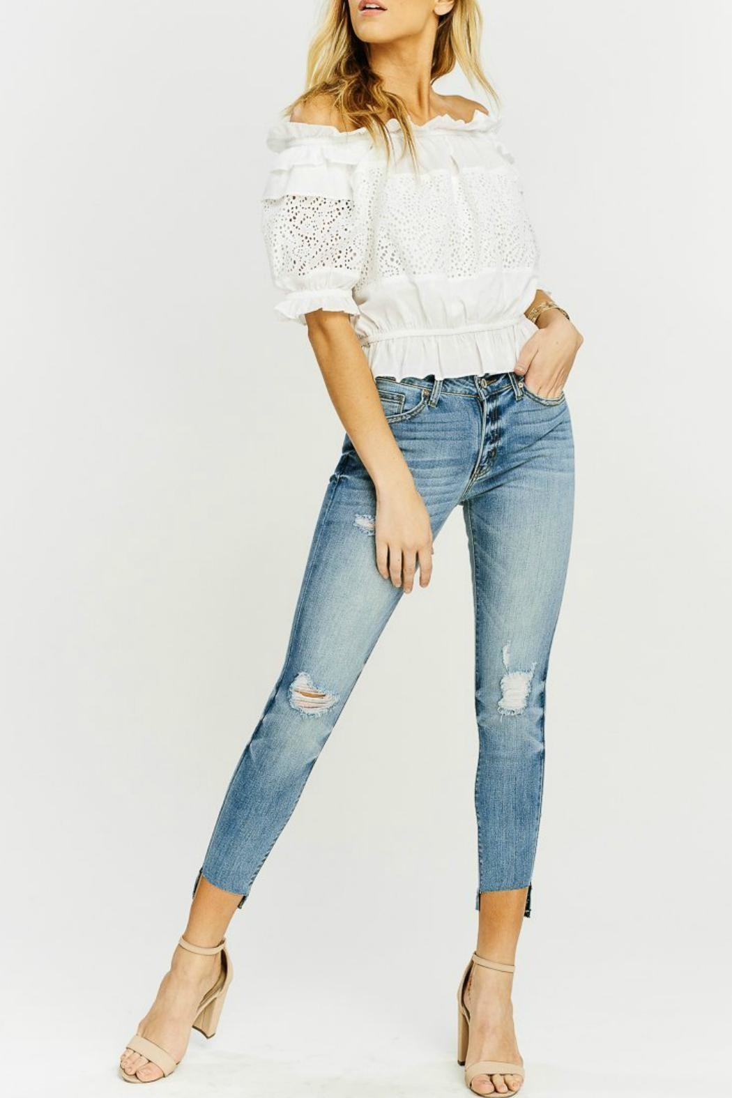 Kan Can Asymmetric Light-Wash Skinny - Back Cropped Image