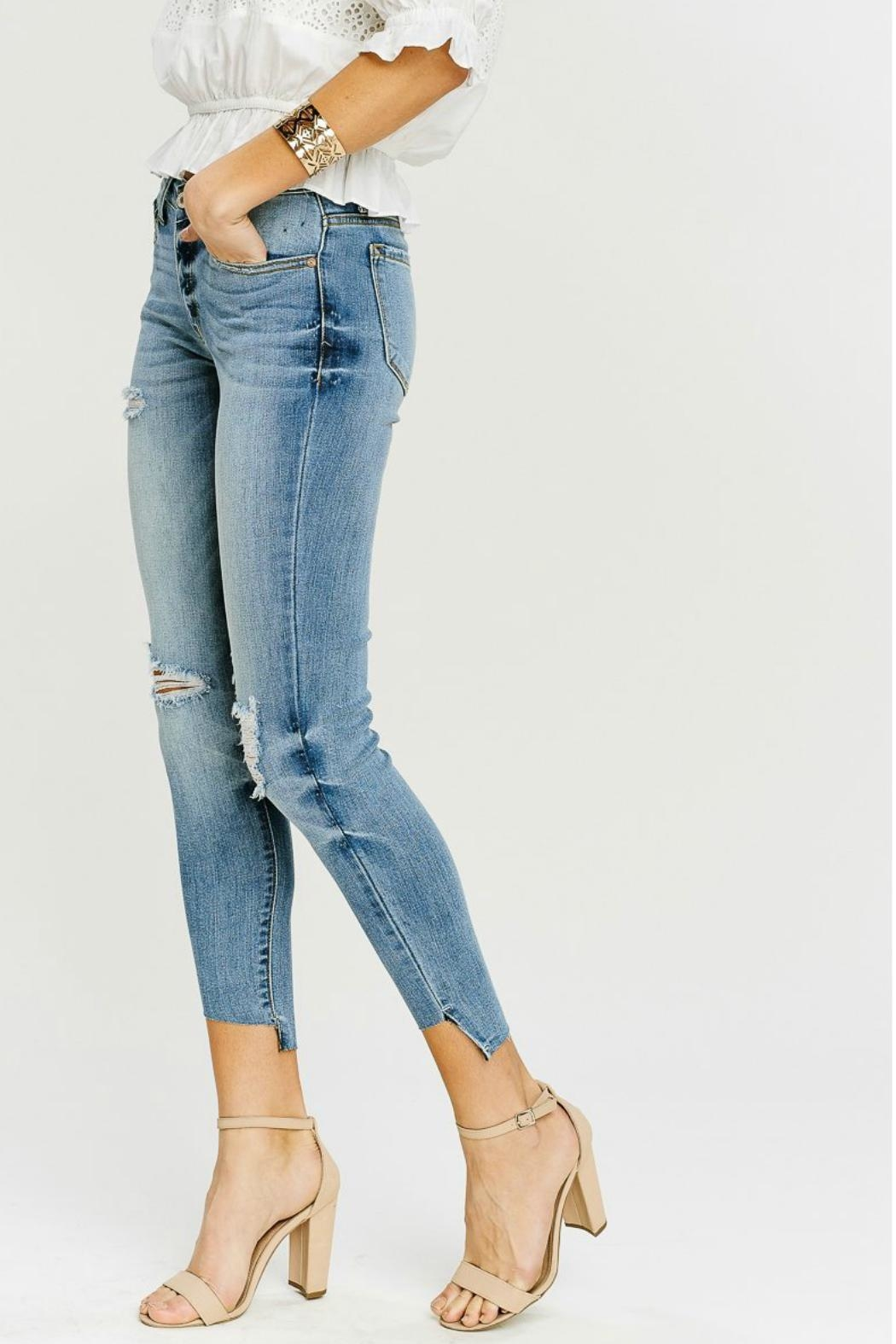 Kan Can Asymmetric Light-Wash Skinny - Side Cropped Image