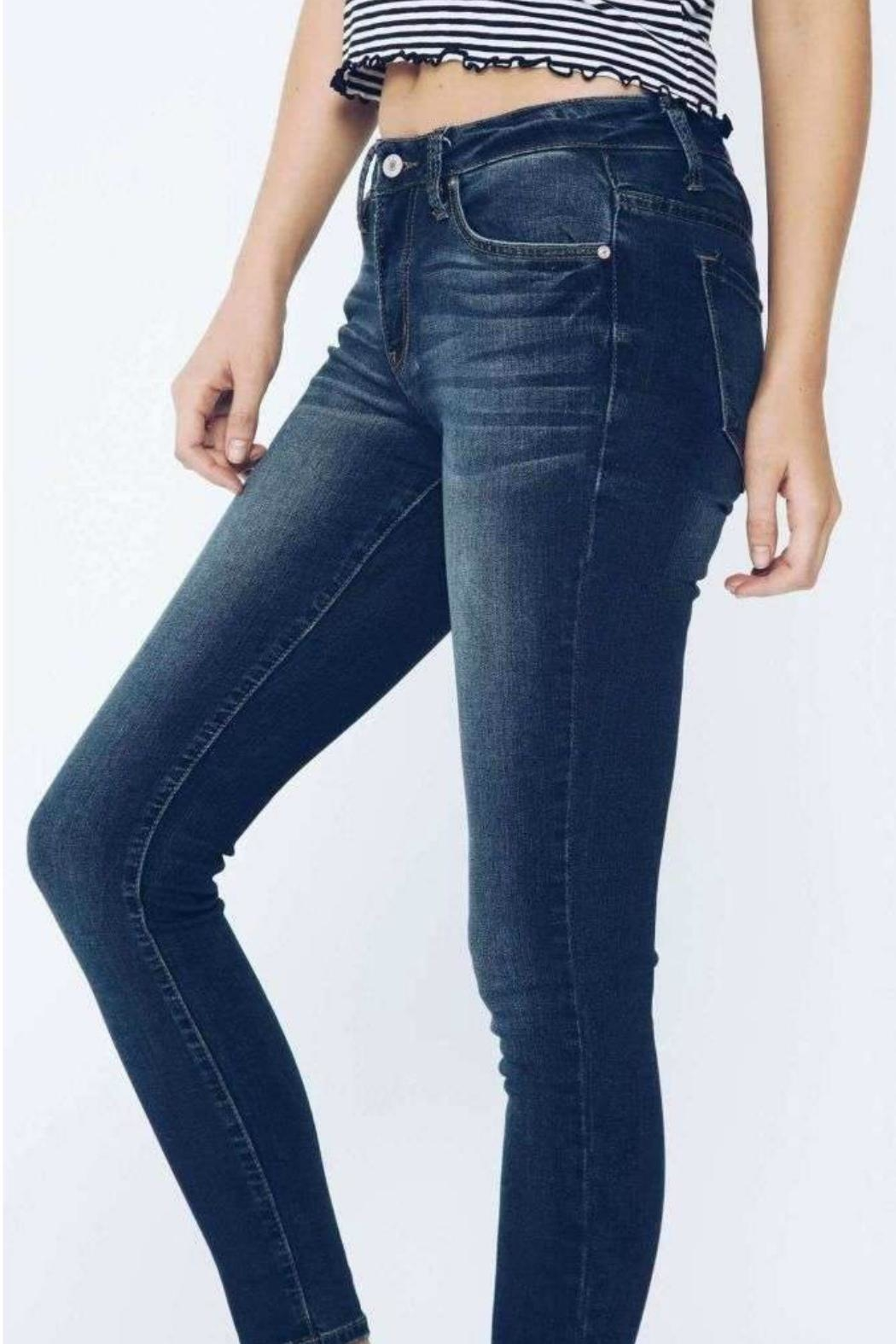 Kan Can Dark Wash Skinny - Side Cropped Image