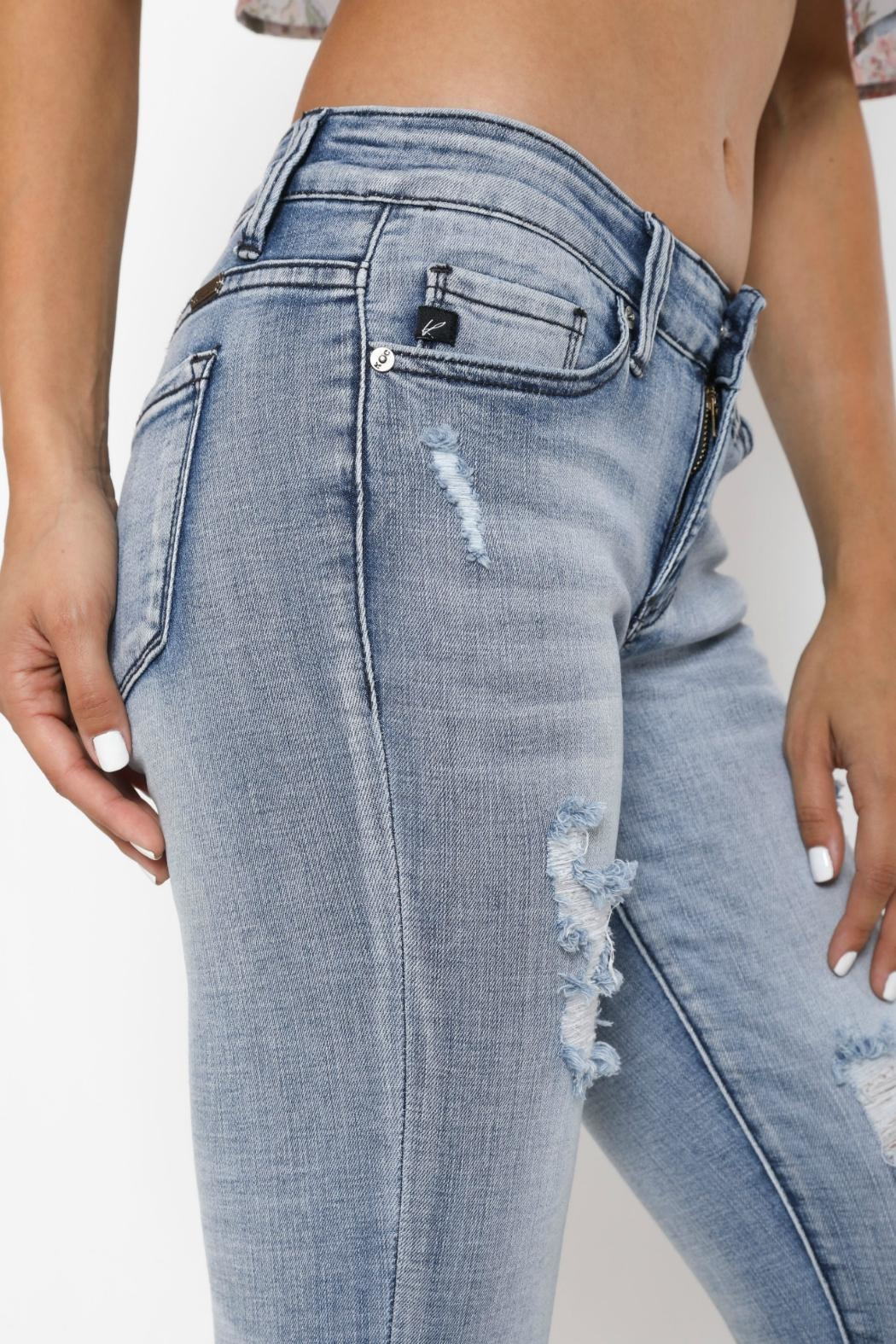 Kan Can Distressed Cuffed Skinny Jeans - Front Full Image