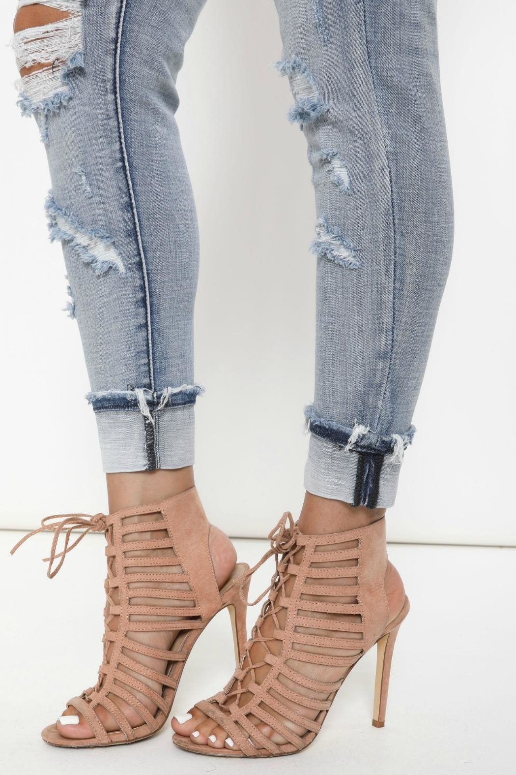 Kan Can Distressed Cuffed Skinny Jeans - Back Cropped Image