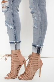 Kan Can Distressed Cuffed Skinny Jeans - Back cropped