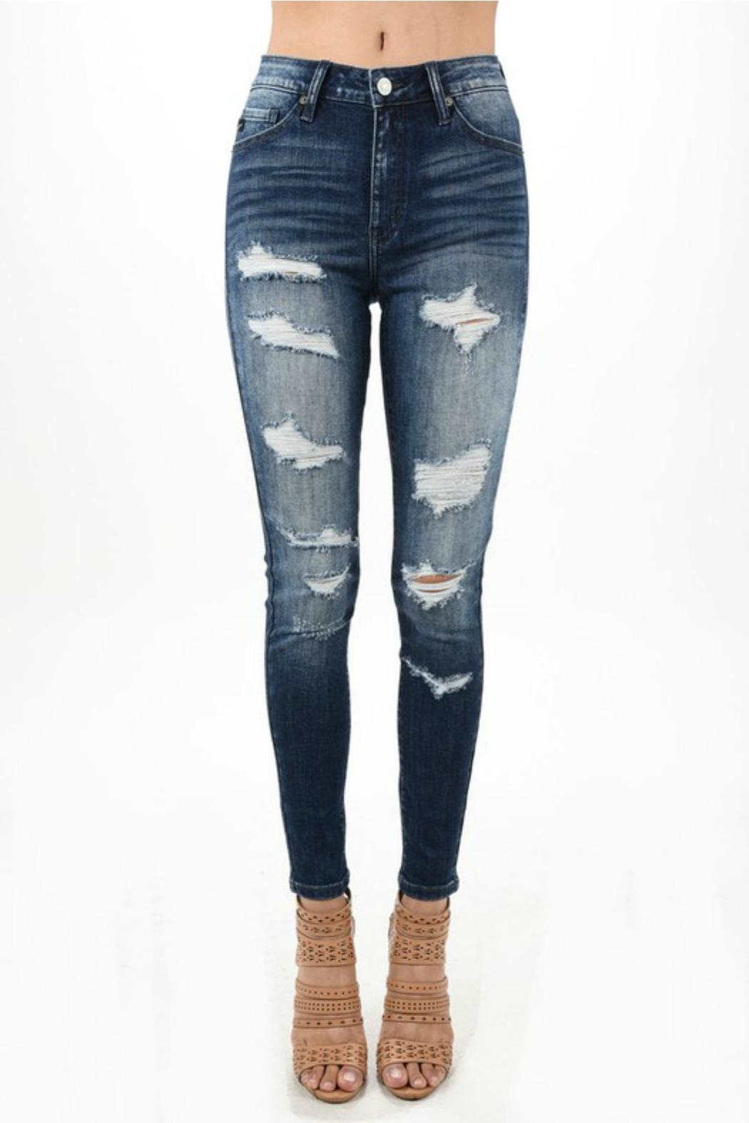 Kan Can Distressed Dark Denim Jean - Front Cropped Image