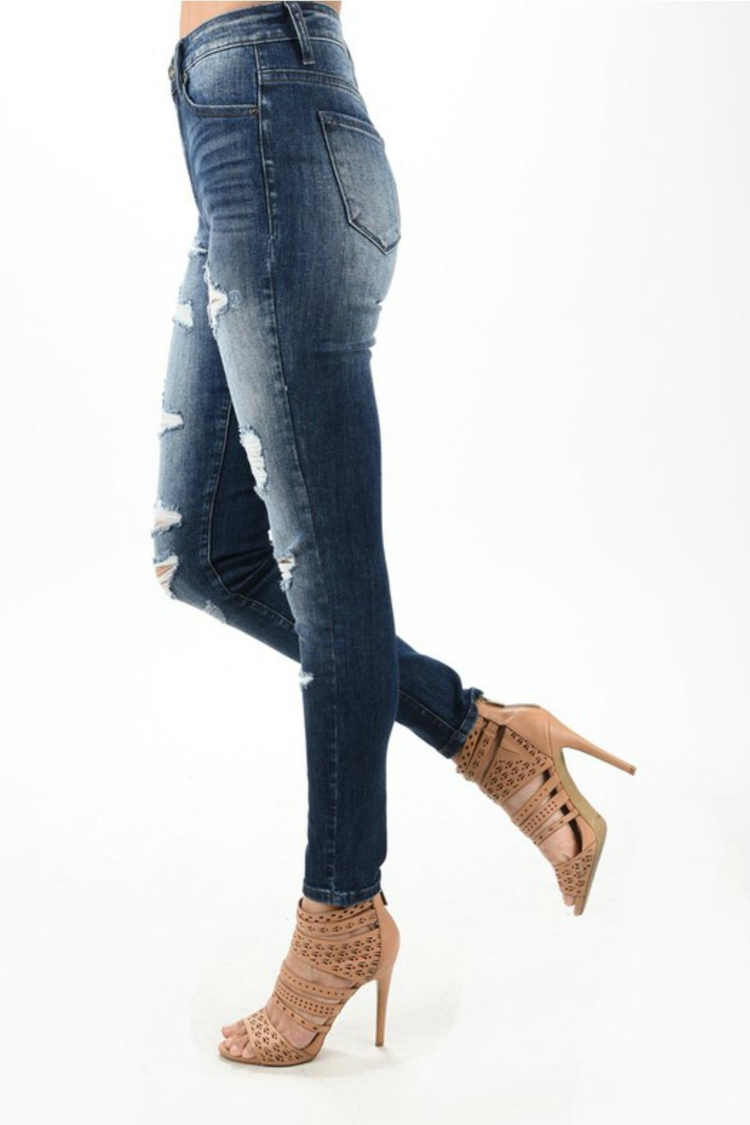 Kan Can Distressed Dark Denim Jean - Side Cropped Image