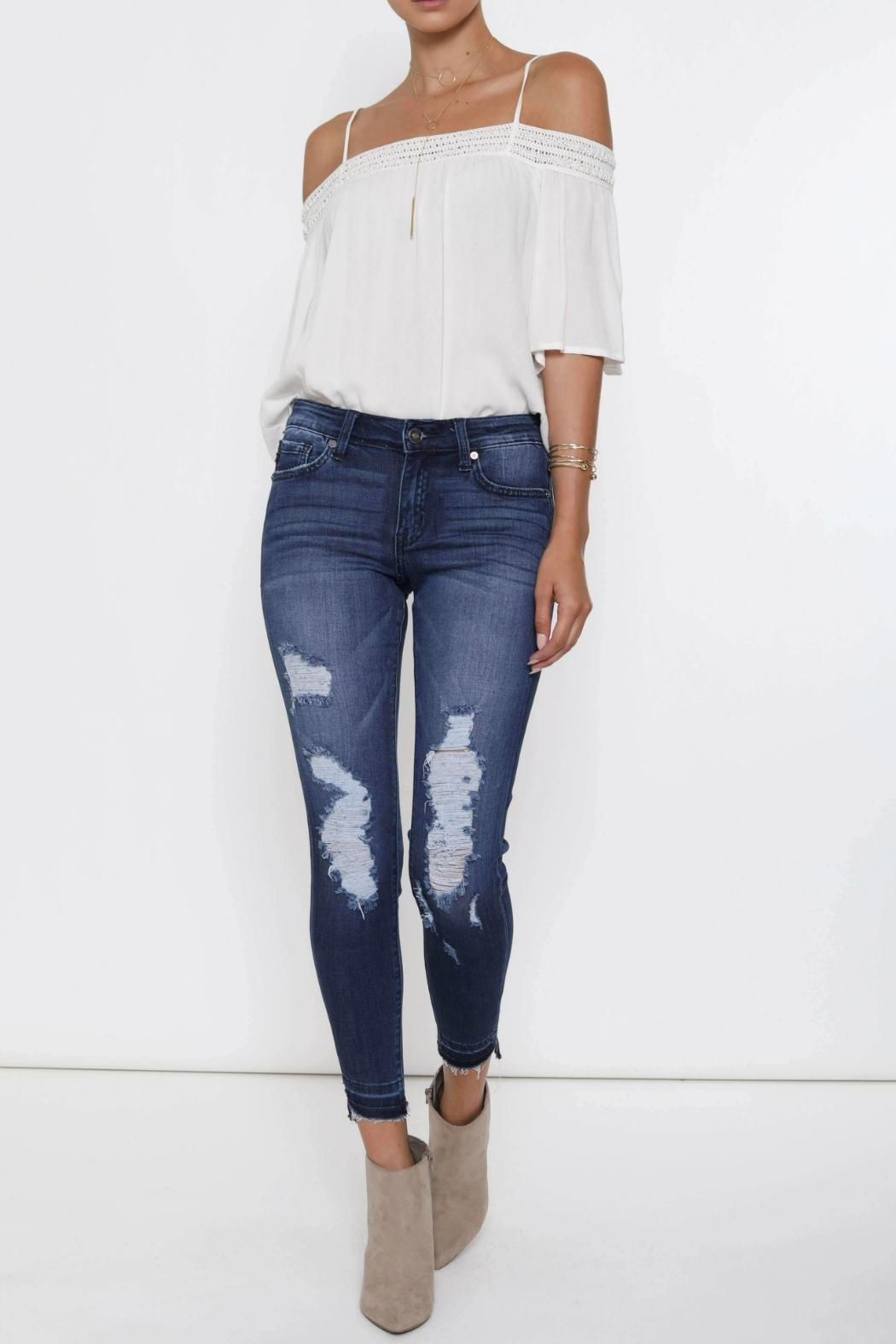Kan Can Distressed High-Low Hem - Main Image