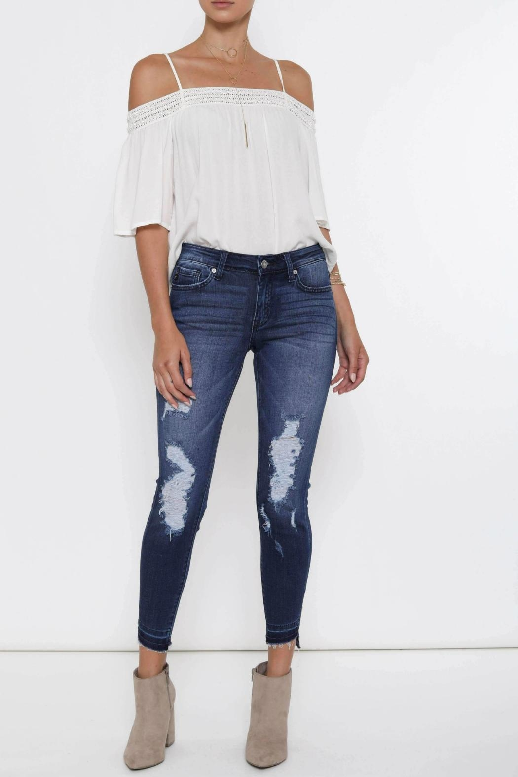 Kan Can Distressed High-Low Hem - Front Full Image
