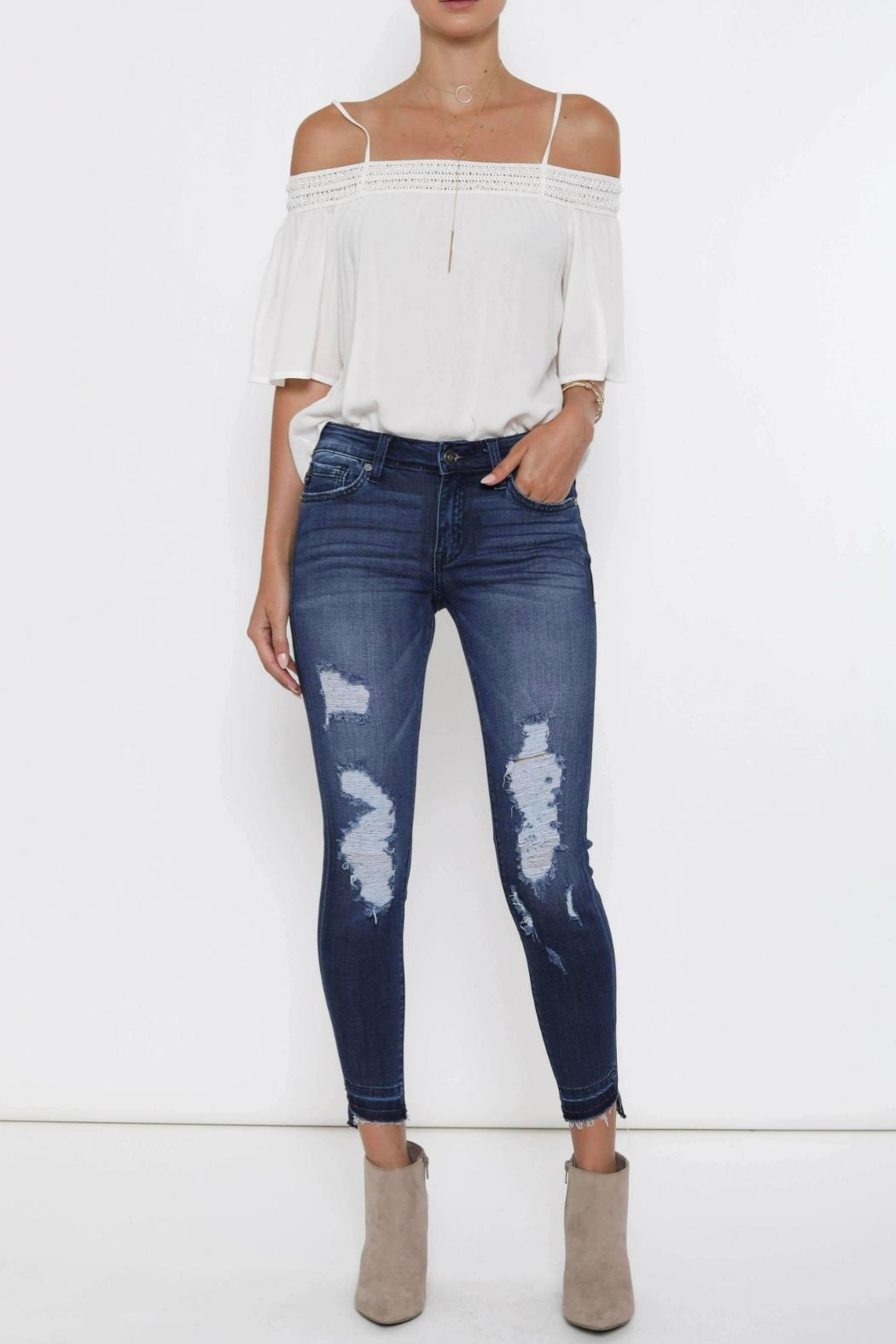 Kan Can Distressed High-Low Hem - Back Cropped Image
